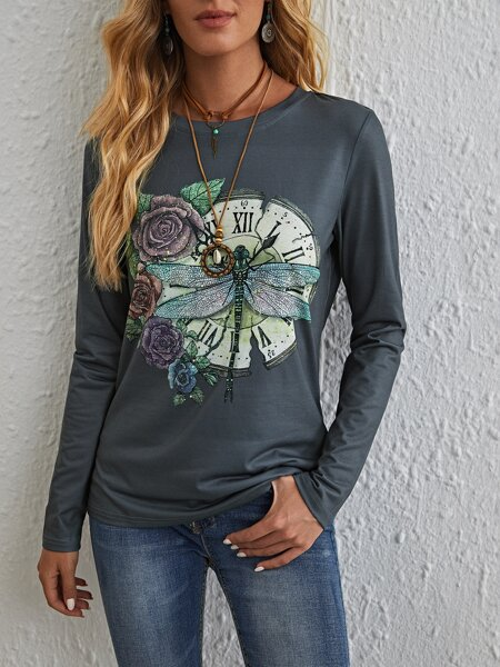 Floral & Dragonfly & Clock Print Tee