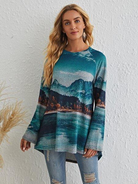 Hill & Lake & Tree Print Raglan Sleeve Tee