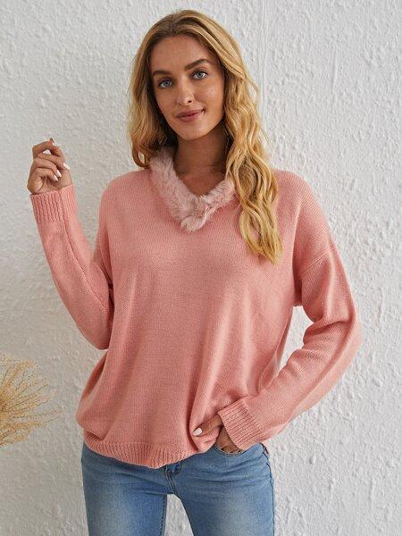 Contrast Faux Fur Drop Shoulder Oversized Sweater