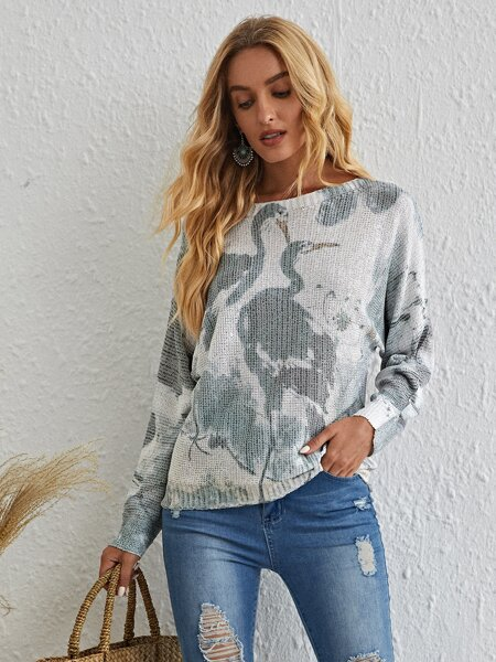 Animal Print Batwing Sleeve Sweater