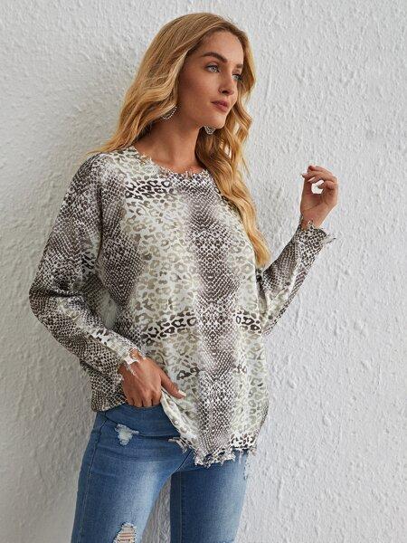 Mixed Animal Print Distressed Sweater