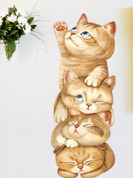 1sheet Kids Cartoon Cat Print Wall Sticker