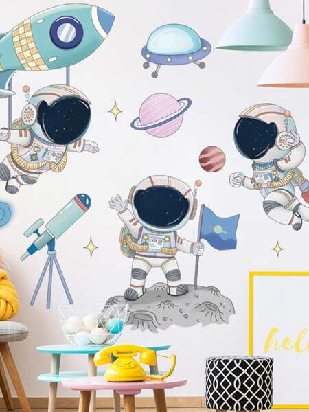 2sheets Kids Astronaut Print Wall Sticker