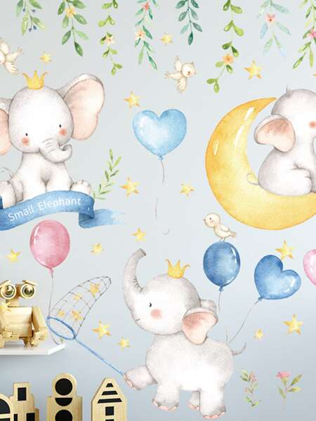 2sheets Kids Cartoon Elephant Print Wall Sticker