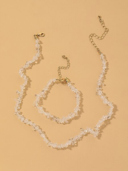 Clear Stone Decor Necklace & Bracelet