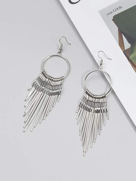 Metal Tassel Decor Drop Earrings