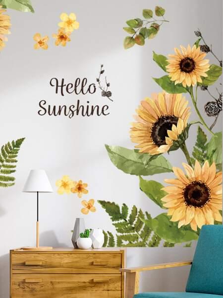 2sheets Sunflower Pattern Wall Sticker