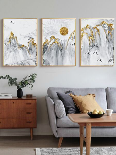 3pcs Landscape Print Wall Painting Without Frame