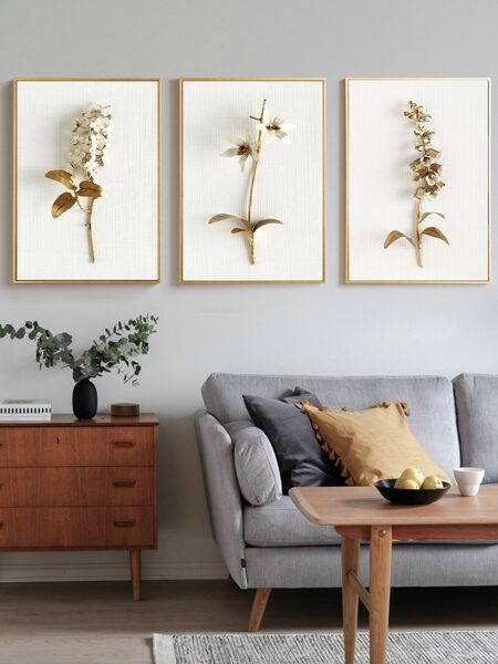 3pcs Flower Print Wall Painting Without Frame