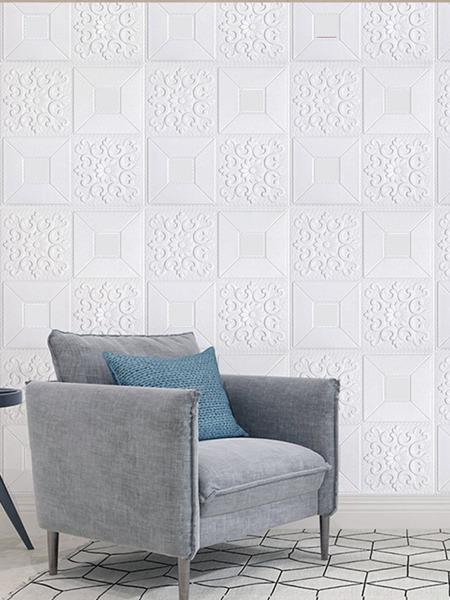 1sheet 3D Flower Pattern Polyfoam Wallpaper Sticker