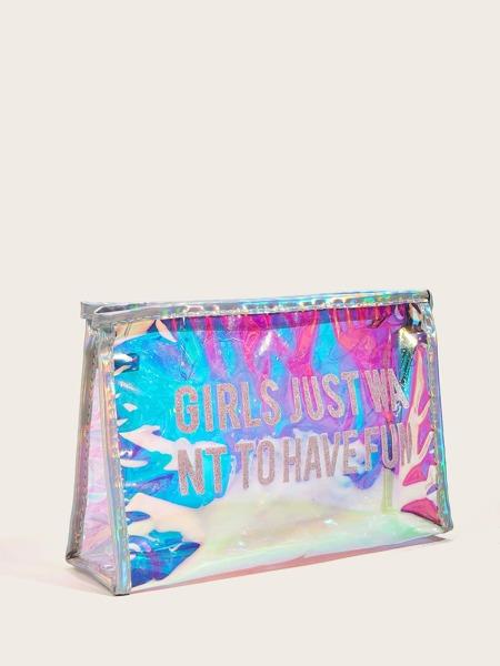 Letter Graphic Laser Makeup Bag
