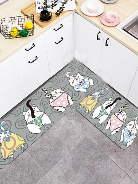 1pc Cartoon Cat Print Kitchen Carpet