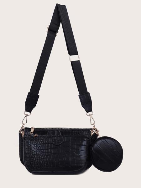 3pcs Croc Embossed Crossbody Bag Set