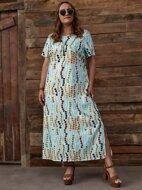 Plus Allover Print Split Hem Tunic Dress