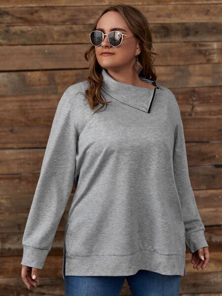 Plus Split Side Solid Sweatshirt