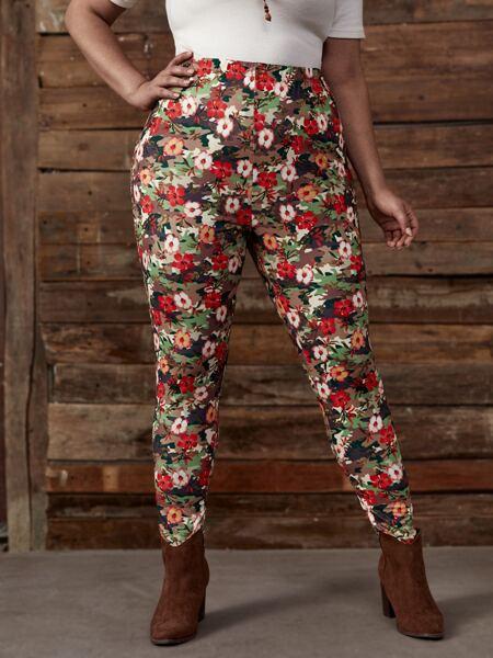 Plus Allover Floral Print Leggings