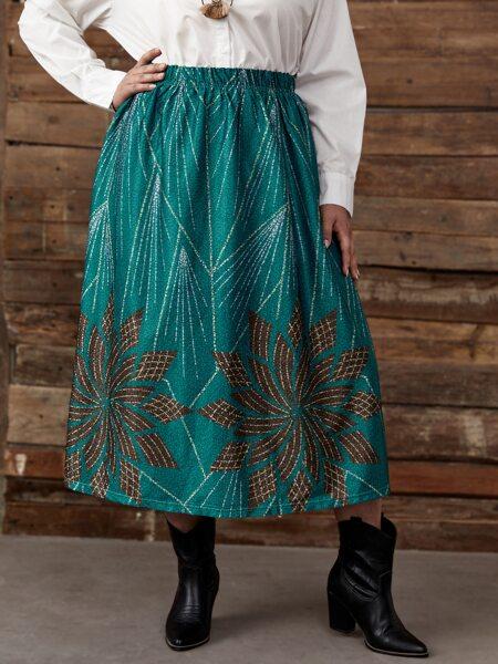 Plus Graphic Print Elastic Waist Skirt