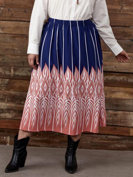 Plus Stripe And Argyle Print Skirt