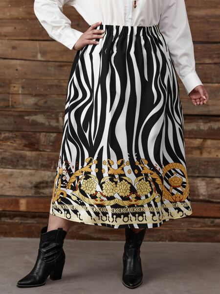 Plus Zebra Stripe Elastic Waist Skirt