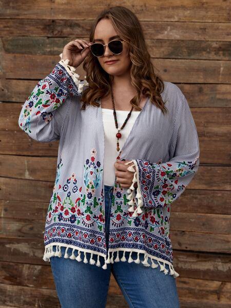 Plus Floral Embroidery Fringe Hem Coat