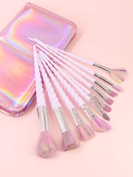 10pcs Spiral Handle Makeup Brush & 1pc Storage Bag