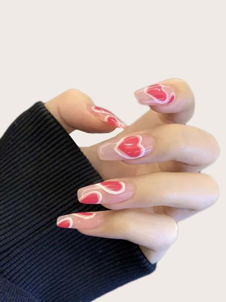 24pcs Heart Pattern Fake Nail & 1sheet Tape