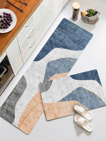 1pc Color Block Floor Mat