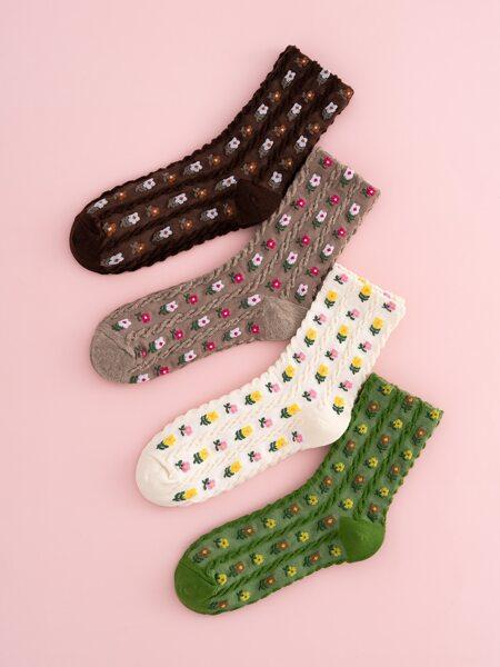 4pairs Ditsy Floral Print Crew Socks