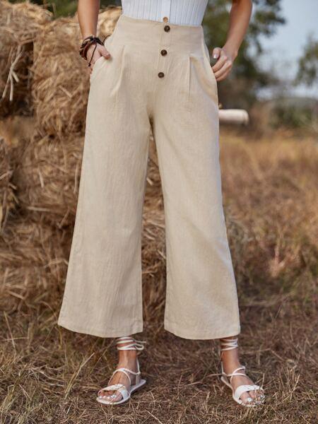 Slant Pocket Button Front Wide Leg Pants