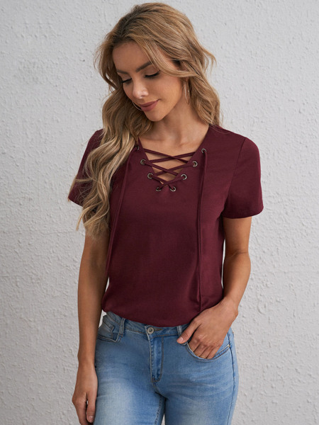 Lace Up Solid Tee