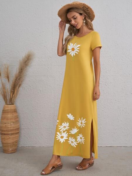 Split Hem Floral Dress