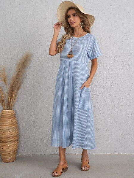 Drop Shoulder Patch Pocket Striped Dress