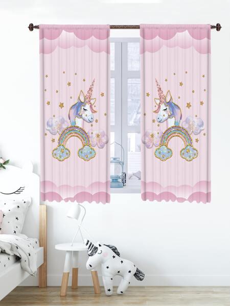 2pcs Kids Unicorn Print Curtain