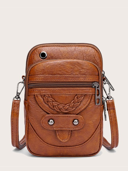 Braided Detail Zip Front Crossbody Bag