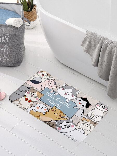 Cartoon Cat Print Floor Mat