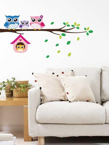 Kids Cartoon Owl Print Wall Sticker