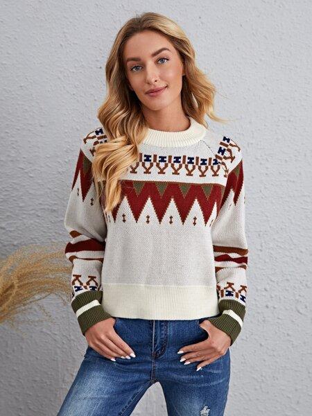 Chevron Pattern Raglan Sleeve Sweater