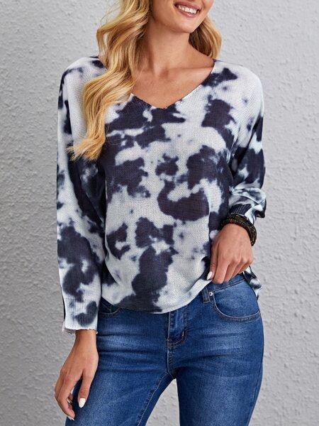 Tie Dye V-neck Sweater