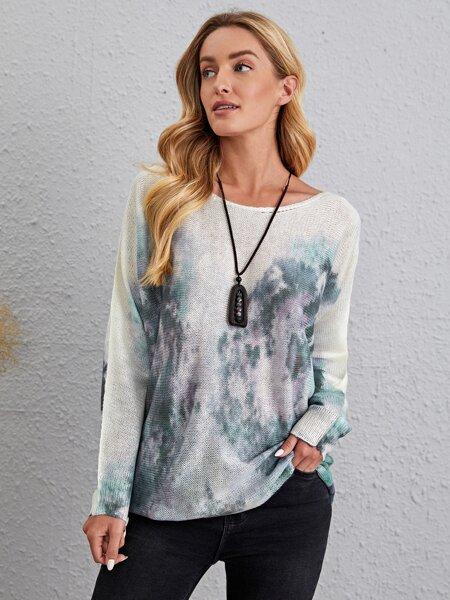 Tie Dye Batwing Sleeve Sweater