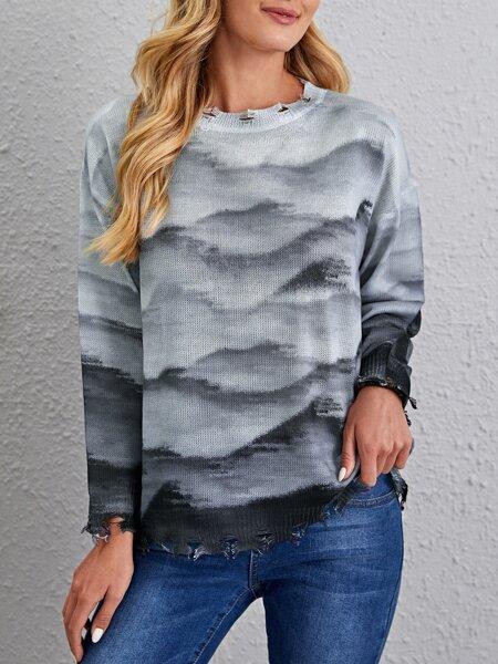 Landscape Pattern Distressed Hem Sweater