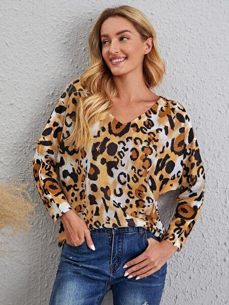Leopard Pattern V-neck Sweater