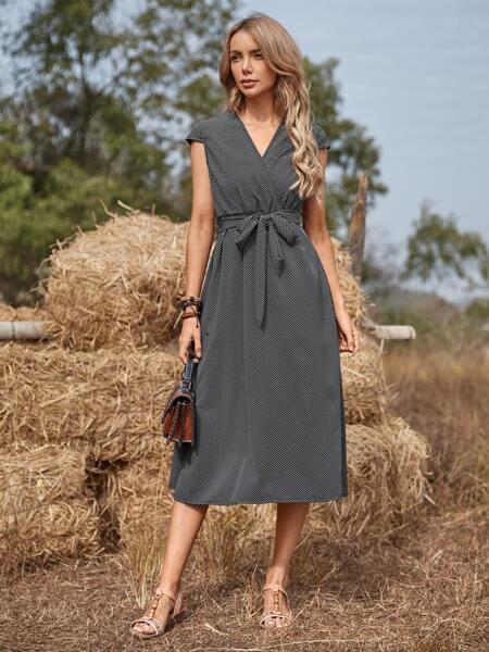 Surplice Front Polka Dot Belted Dress