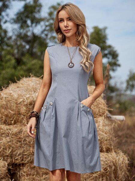 Button Detail Dual Pocket Dress
