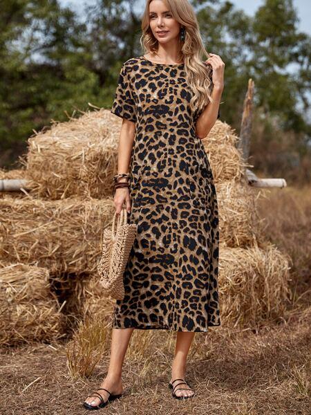 Leopard Print Dual Pocket Tunic Dress