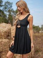 Solid Sleeveless Short Dress