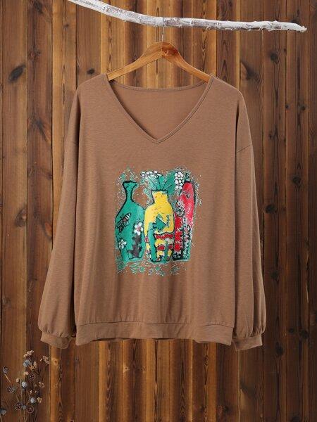 Plus Vase And Floral Print Sweatshirt