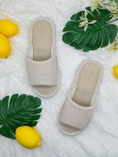 Open Toe Striped Slippers