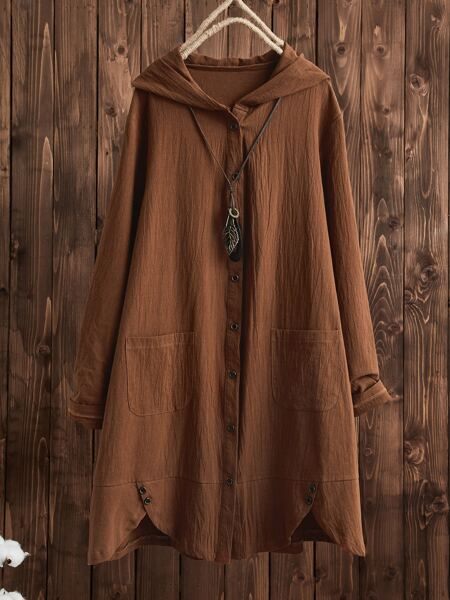 Button Front Dual Pocket Hooded Coat Without Necklace