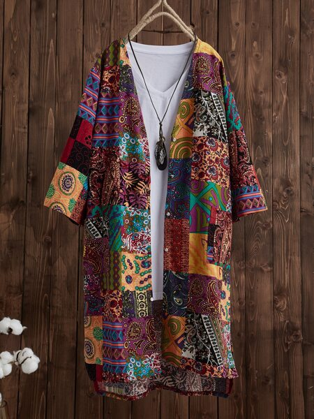 Patchwork Print Open Front Coat Without Tee