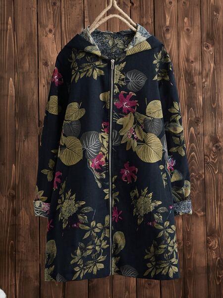 Tropical Print Zip Up Hooded Coat